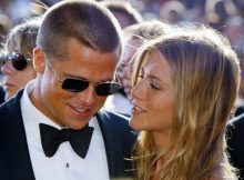 Brad Pitt and Jennifer Aniston arrive at the 56th annual Primetime Emmy Awards at the Shrine Auditorium in Los Angeles, in this September 19, 2004 file photo. Jennifer Aniston filed for divorce on March 25, 2005 from Brad Pitt, some two and a half months after Hollywood's golden couple announced they were separating, court papers in Los Angeles showed. REUTERS/Kimberly White/Files  SV/PN - RTR6400