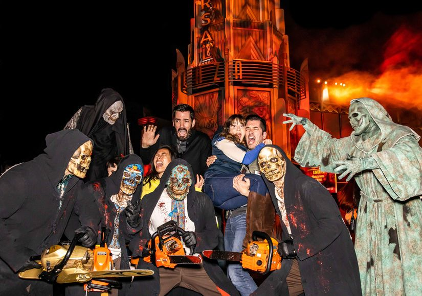 "Drew Scott, Linda Phan, Zooey Deschanel and Jonathan Scott get more than they bargained for on date night at ""Halloween Horror Nights"" at Universal Studios Hollywood on Saturday, October 19, 2019."