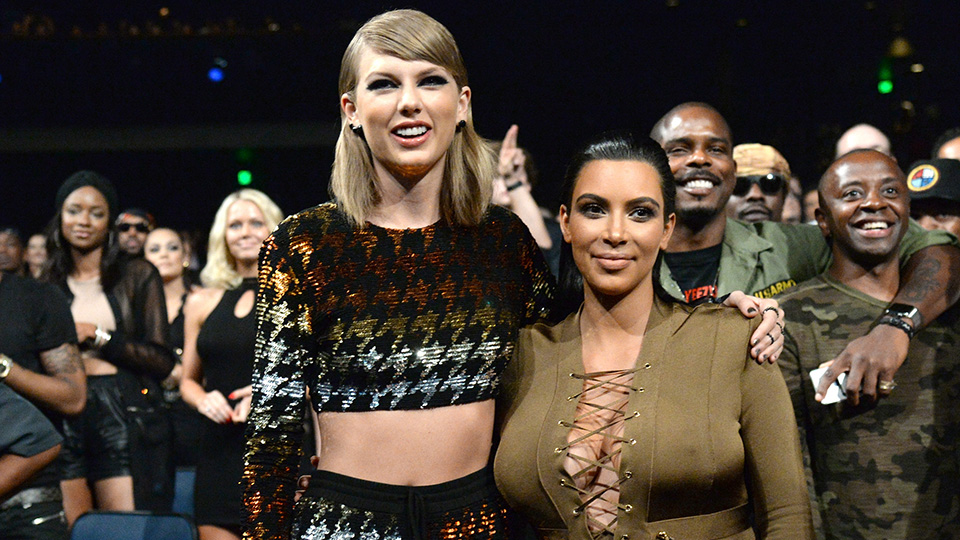 LOS ANGELES, CA - AUGUST 30: Taylor Swift and Kim Kardashian West attend the 2015 MTV Video Music Awards at Microsoft Theater on August 30, 2015 in Los Angeles, California. (Photo by Kevin Mazur/MTV1415/WireImage)